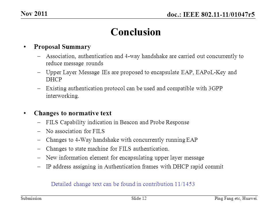 Conclusion Nov 2011 Proposal Summary Changes to normative text