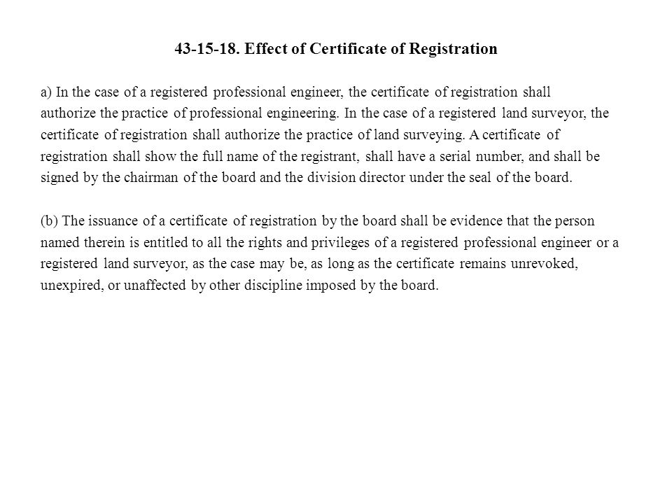 Effect of Certificate of Registration