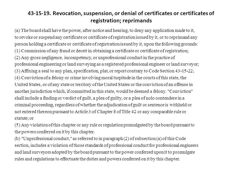 43-15-19. Revocation, suspension, or denial of certificates or certificates of registration; reprimands