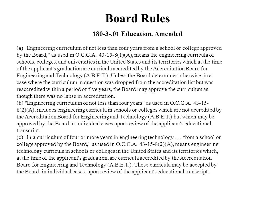 Board Rules 180-3-.01 Education. Amended