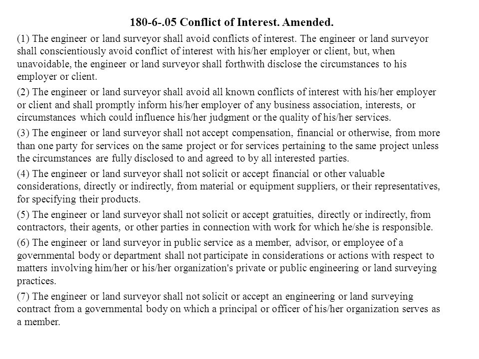 180-6-.05 Conflict of Interest. Amended.