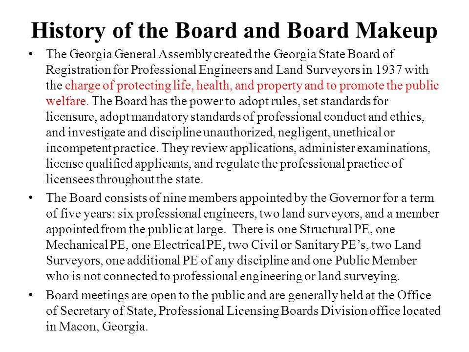 History of the Board and Board Makeup
