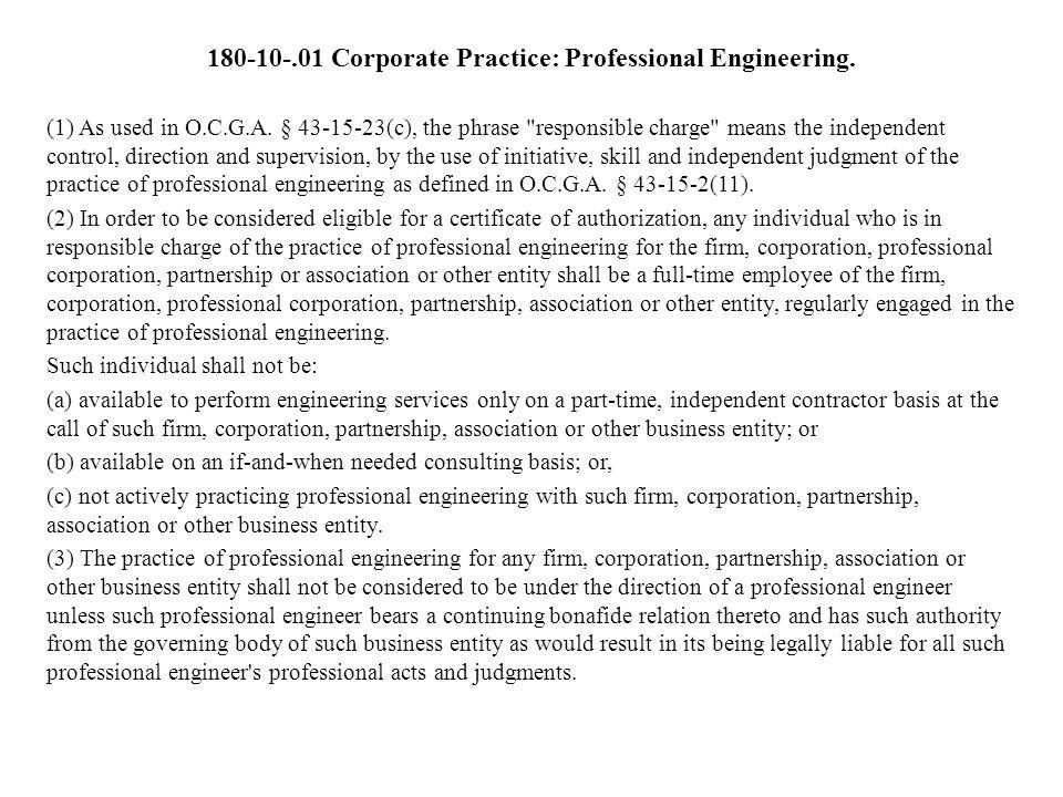 180-10-.01 Corporate Practice: Professional Engineering.