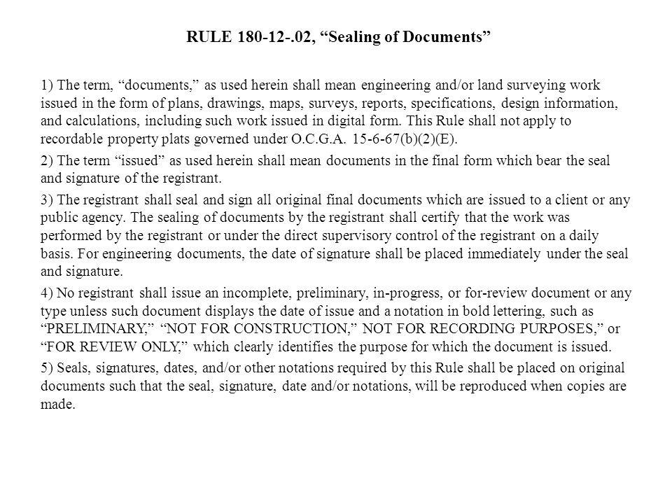 RULE 180-12-.02, Sealing of Documents