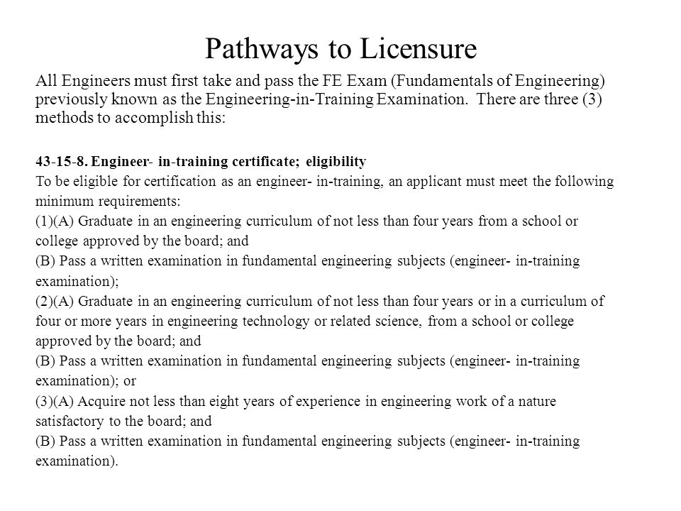 Pathways to Licensure