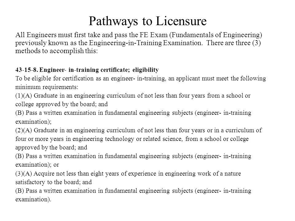 Pathways to Licensure