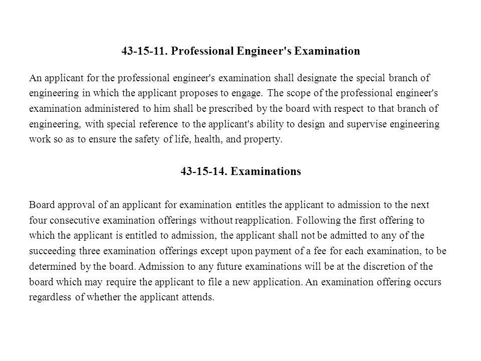 43-15-11. Professional Engineer s Examination