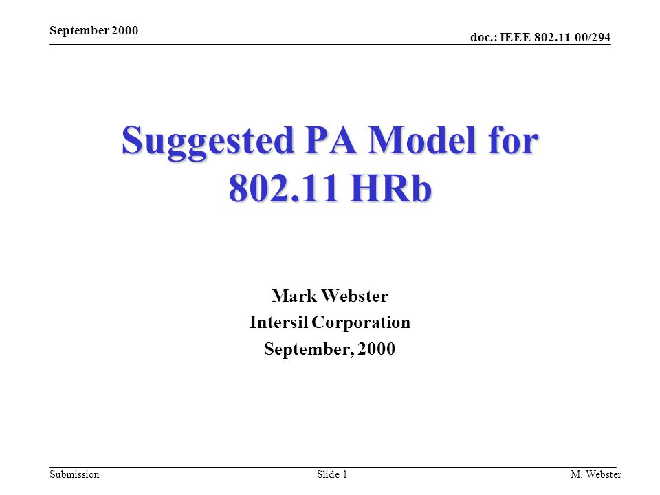 Suggested PA Model for HRb