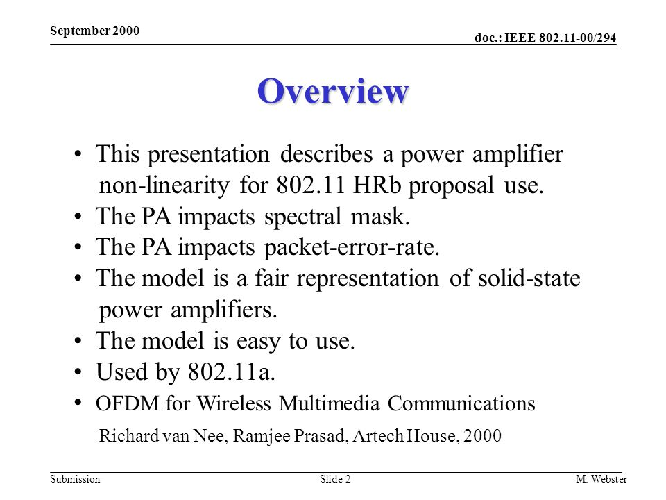 May 2000 doc.: IEEE 802.11-00/xxx. September 2000. Overview.