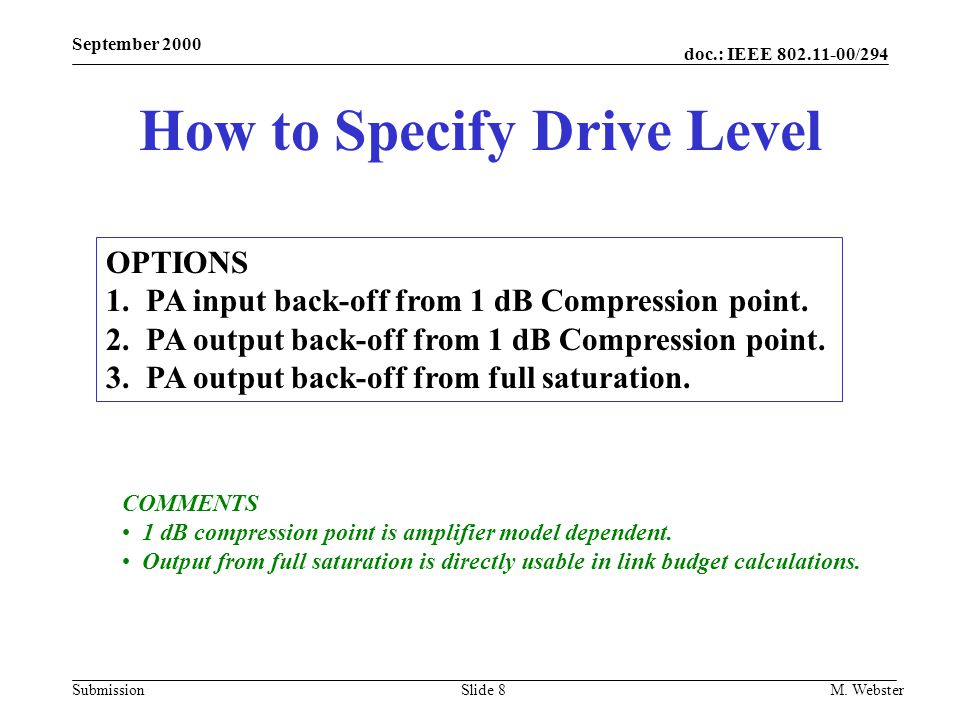 How to Specify Drive Level