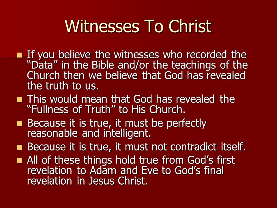 Witnesses To Christ