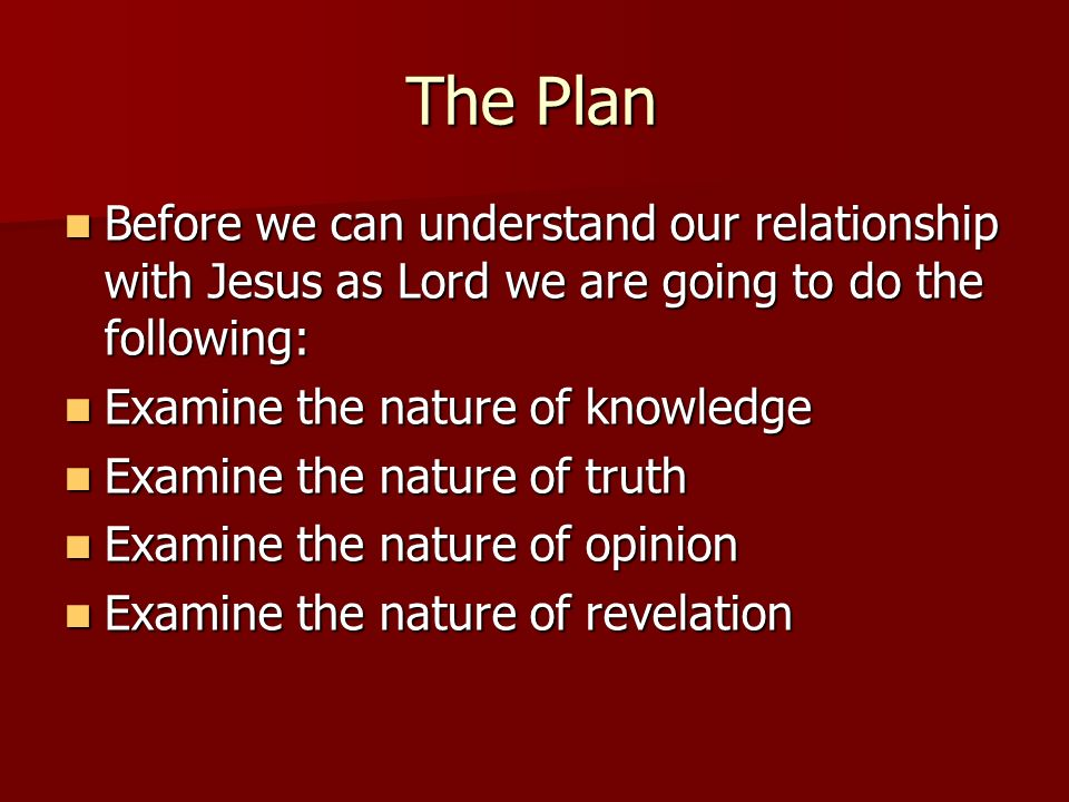 The Plan Before we can understand our relationship with Jesus as Lord we are going to do the following:
