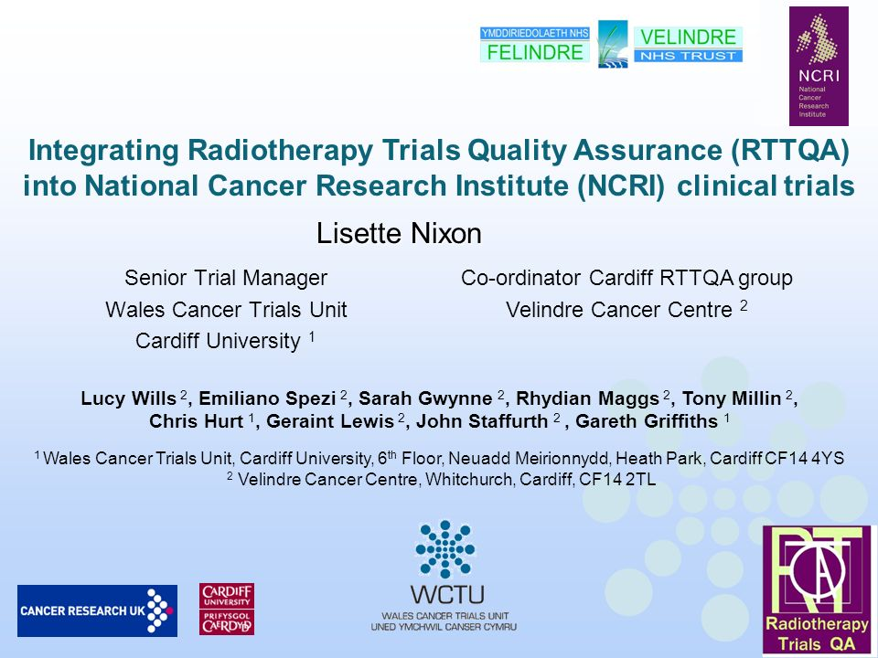 Senior Trial Manager Wales Cancer Trials Unit Cardiff University 1