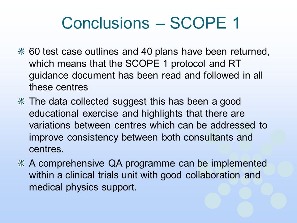 Conclusions – SCOPE 1