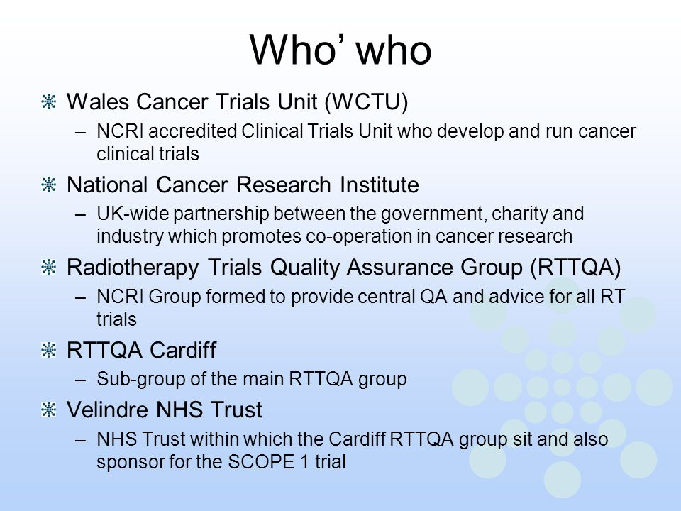 Who' who Wales Cancer Trials Unit (WCTU)