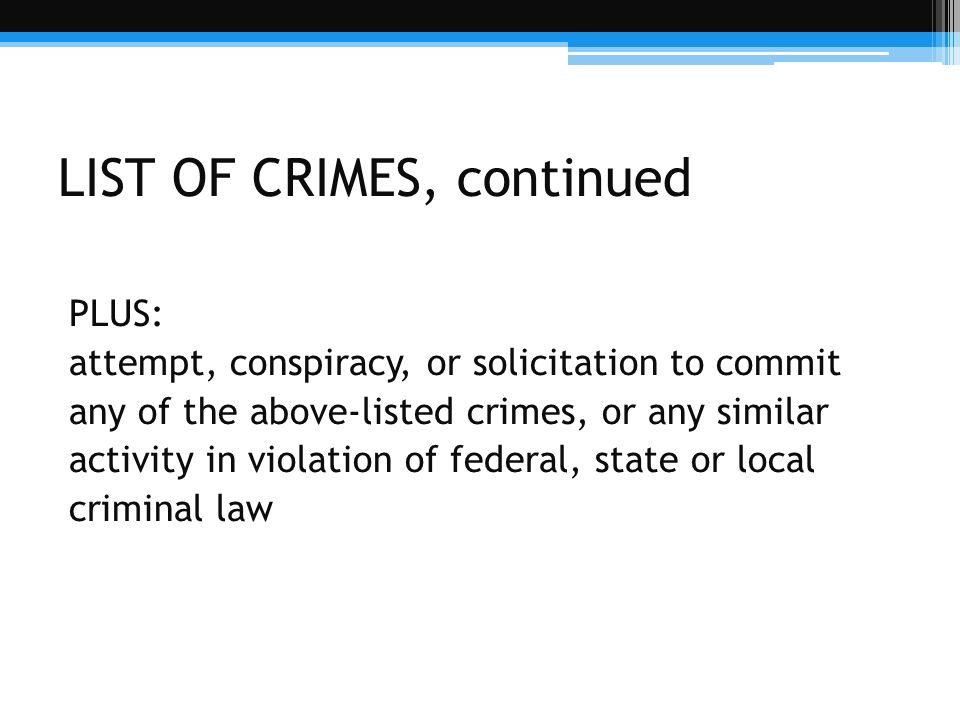 LIST OF CRIMES, continued