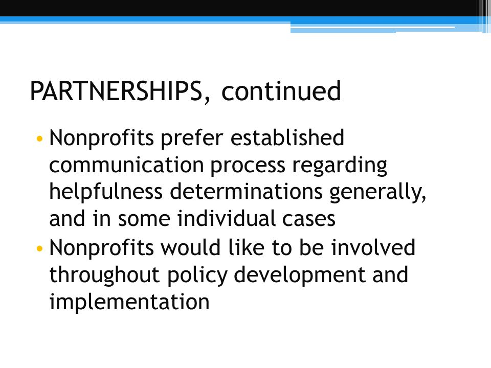 PARTNERSHIPS, continued