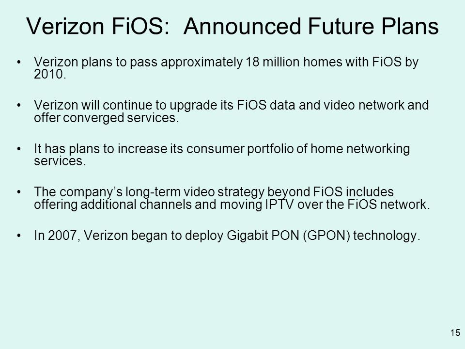 Verizon FiOS: Announced Future Plans