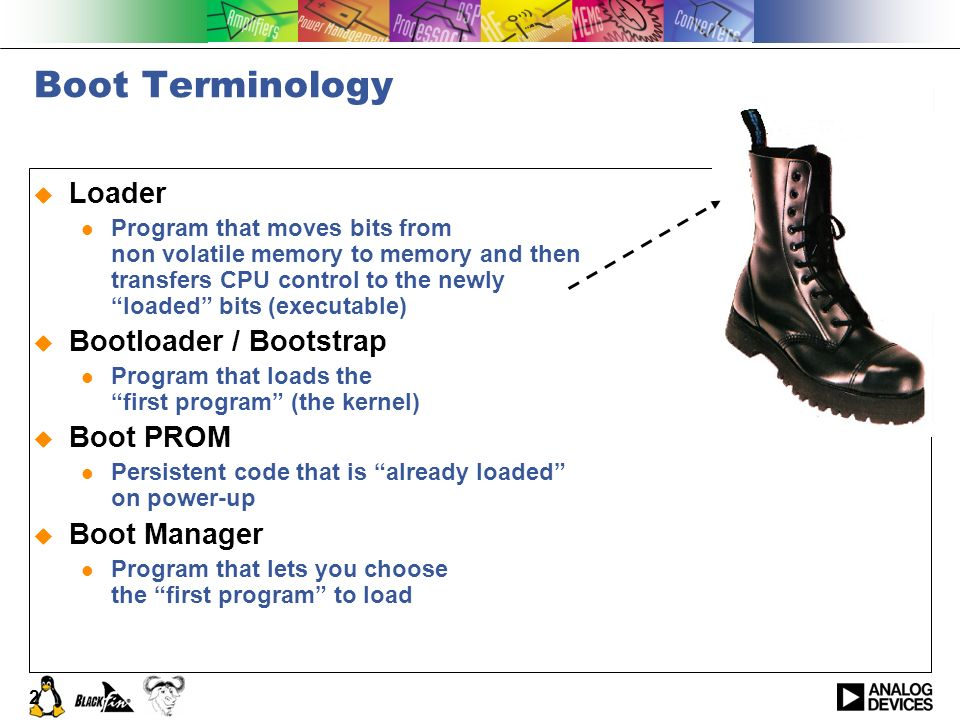 Boot Terminology Loader Bootloader / Bootstrap Boot PROM Boot Manager