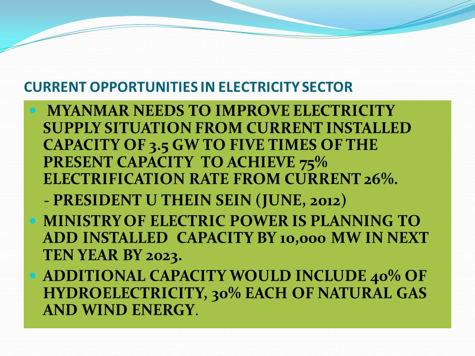 CURRENT OPPORTUNITIES IN ELECTRICITY SECTOR