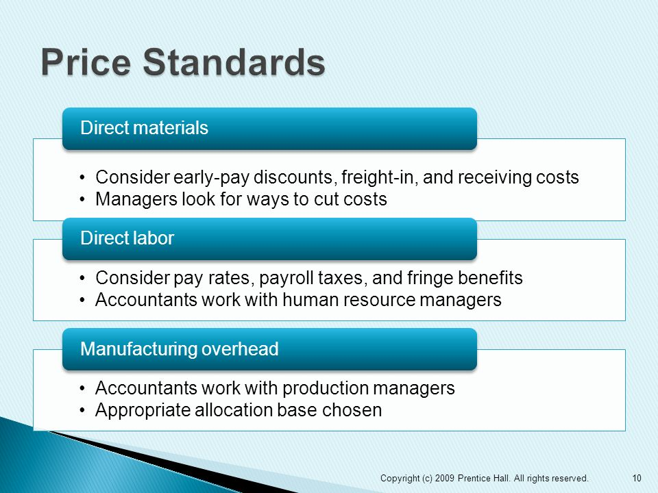 Price StandardsDirect materials. Consider early-pay discounts, freight-in, and receiving costs. Managers look for ways to cut costs.