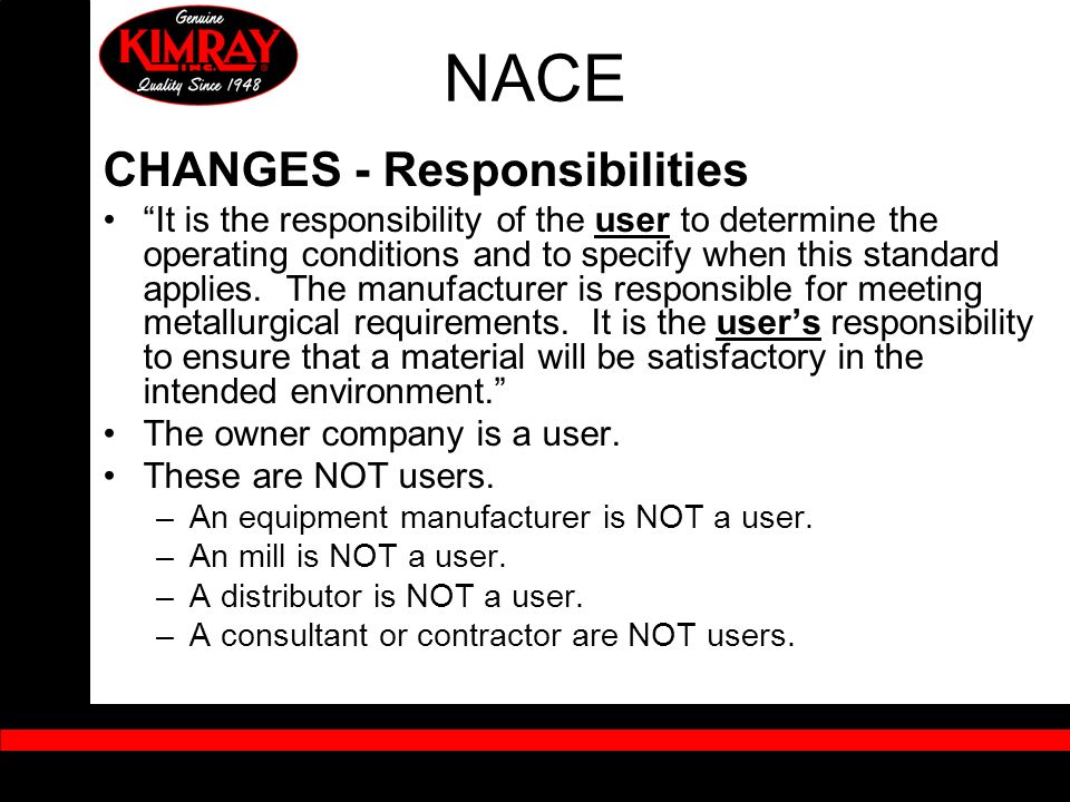 NACE CHANGES - Responsibilities