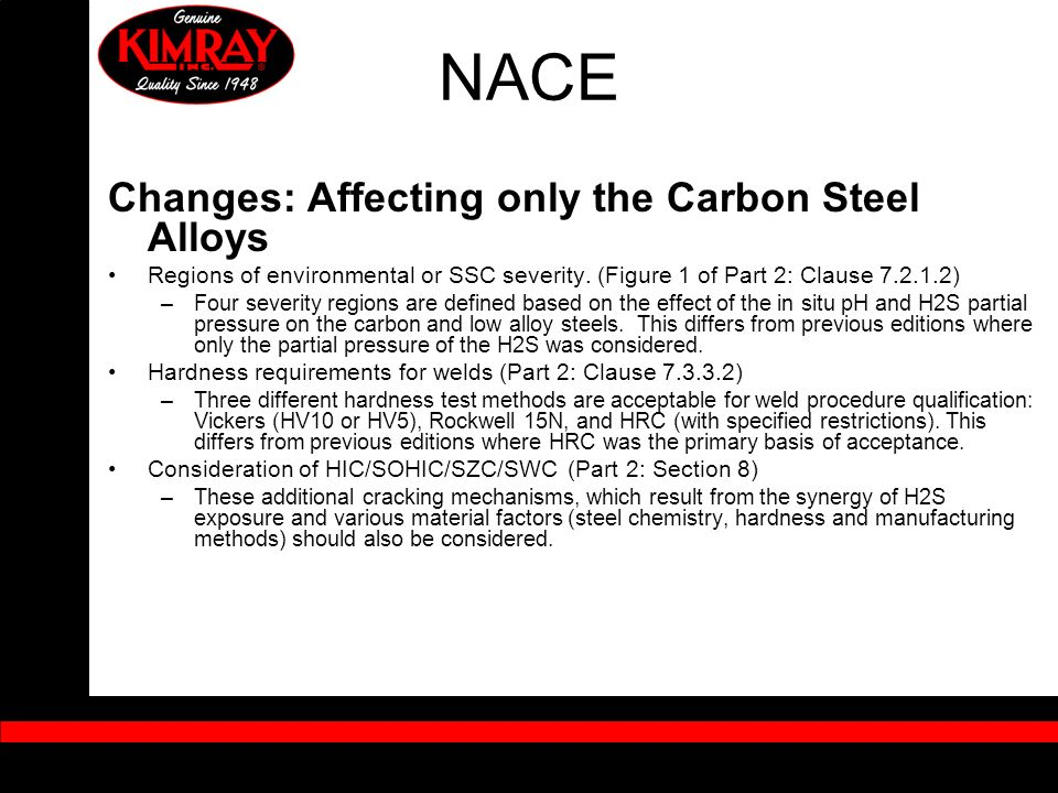 NACE Changes: Affecting only the Carbon Steel Alloys