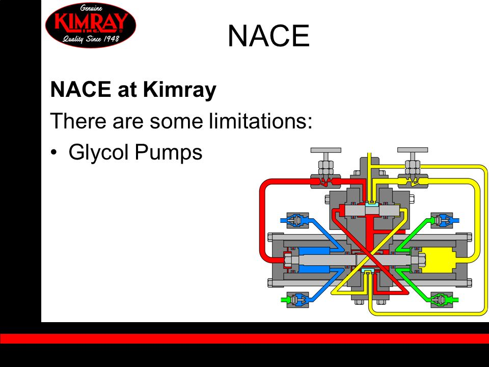 NACE NACE at Kimray There are some limitations: Glycol Pumps