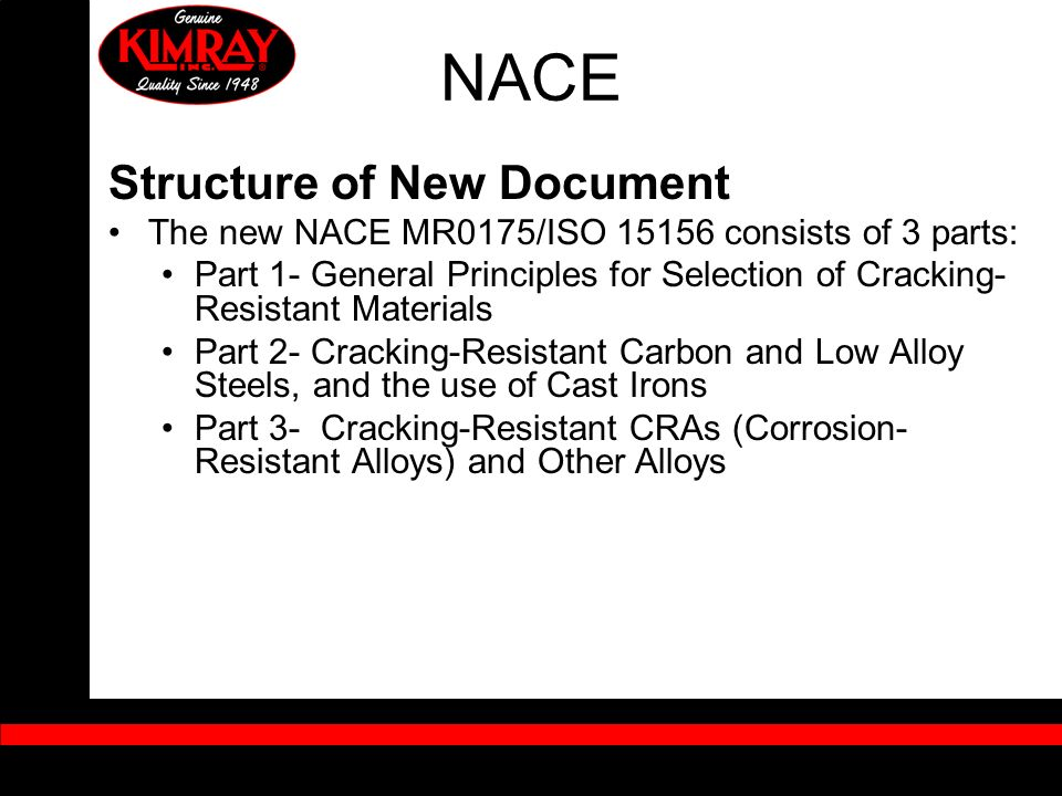 NACE Structure of New Document