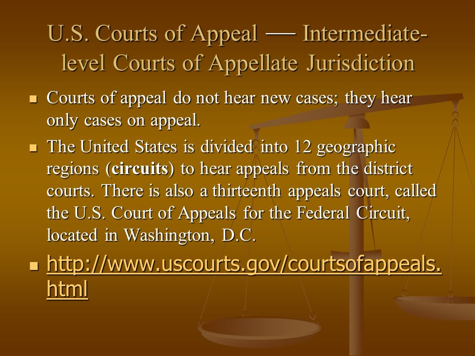 U.S. Courts of Appeal — Intermediate-level Courts of Appellate Jurisdiction