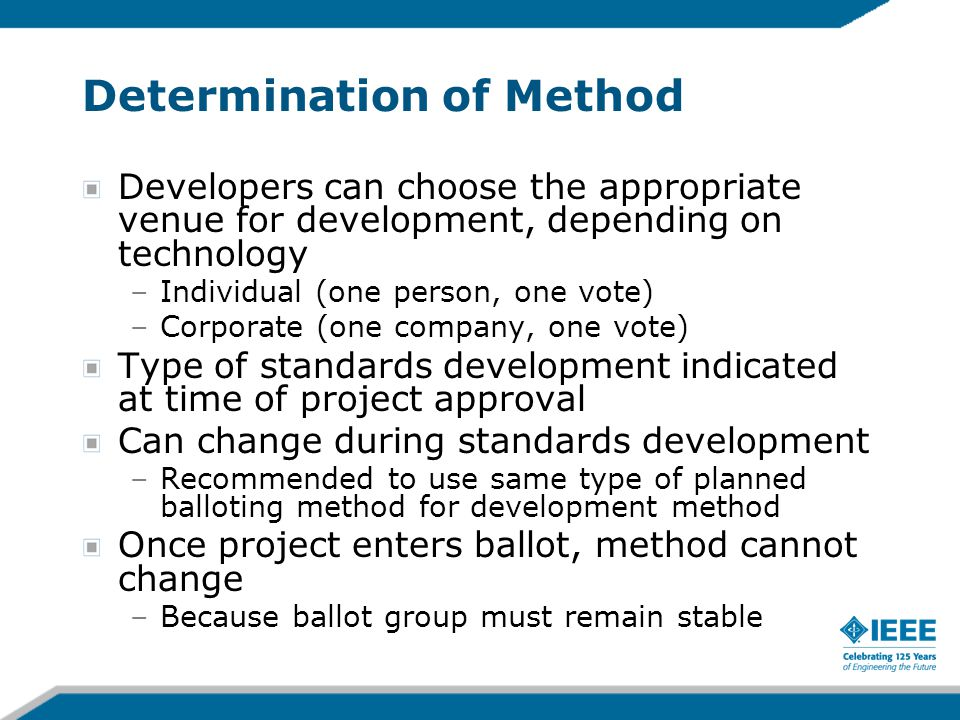 Determination of Method