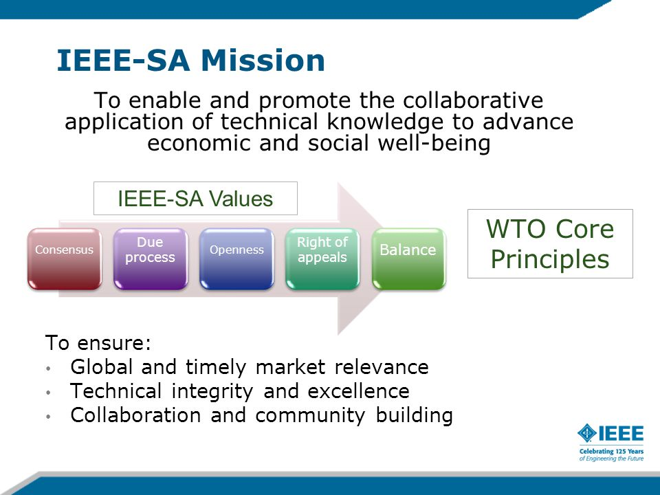 IEEE-SA Mission WTO Core Principles