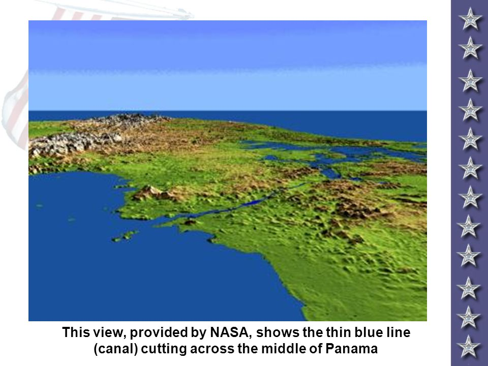 This view, provided by NASA, shows the thin blue line (canal) cutting across the middle of Panama