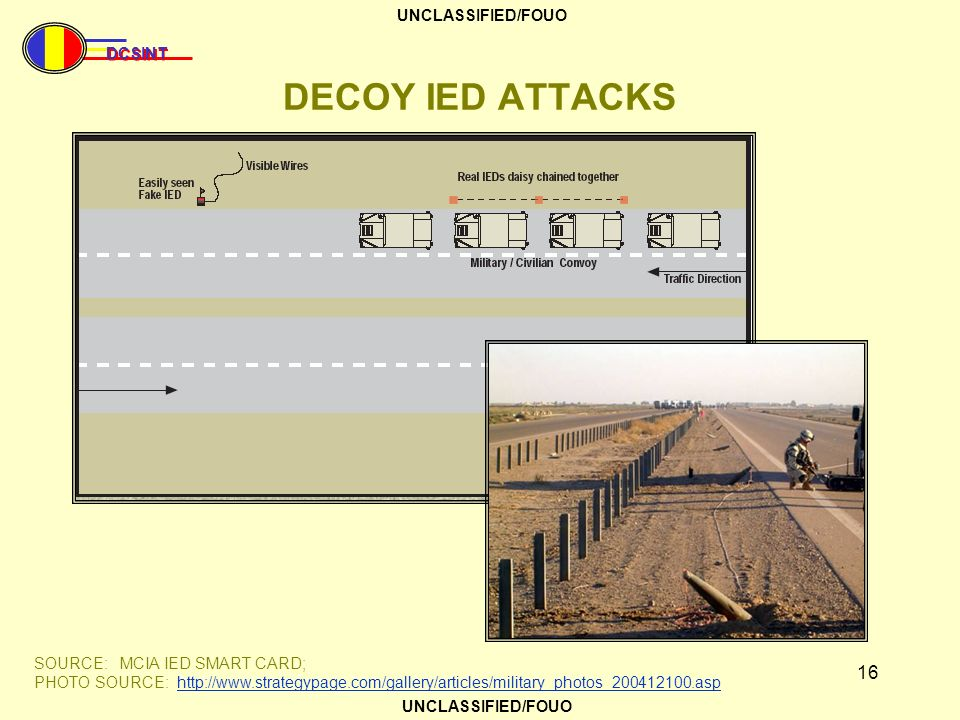 DECOY IED ATTACKS SOURCE: MCIA IED SMART CARD;