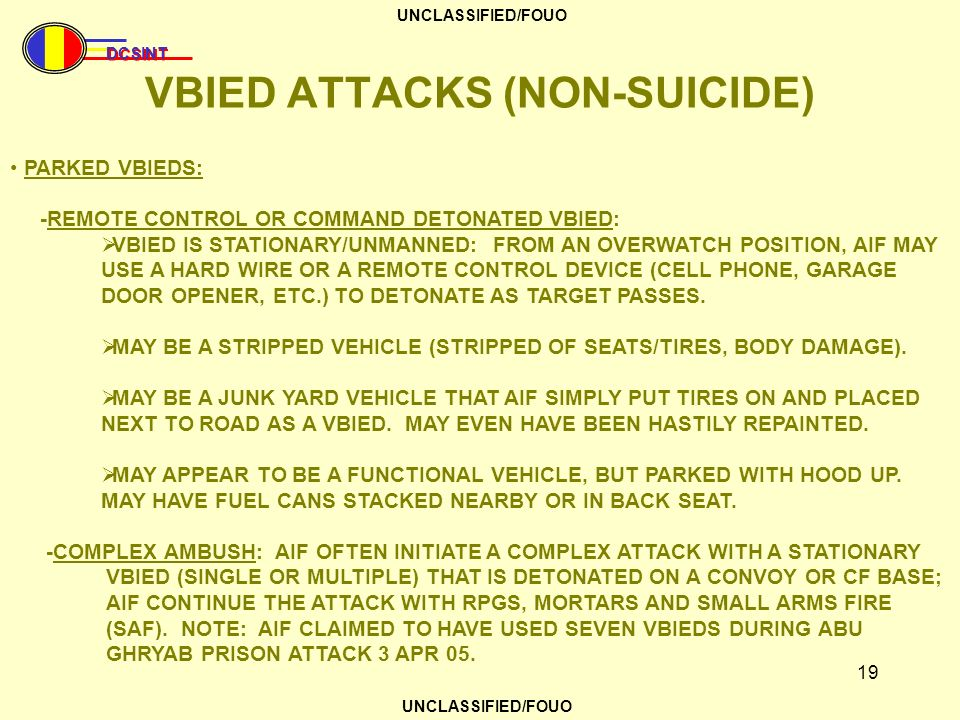 VBIED ATTACKS (NON-SUICIDE)