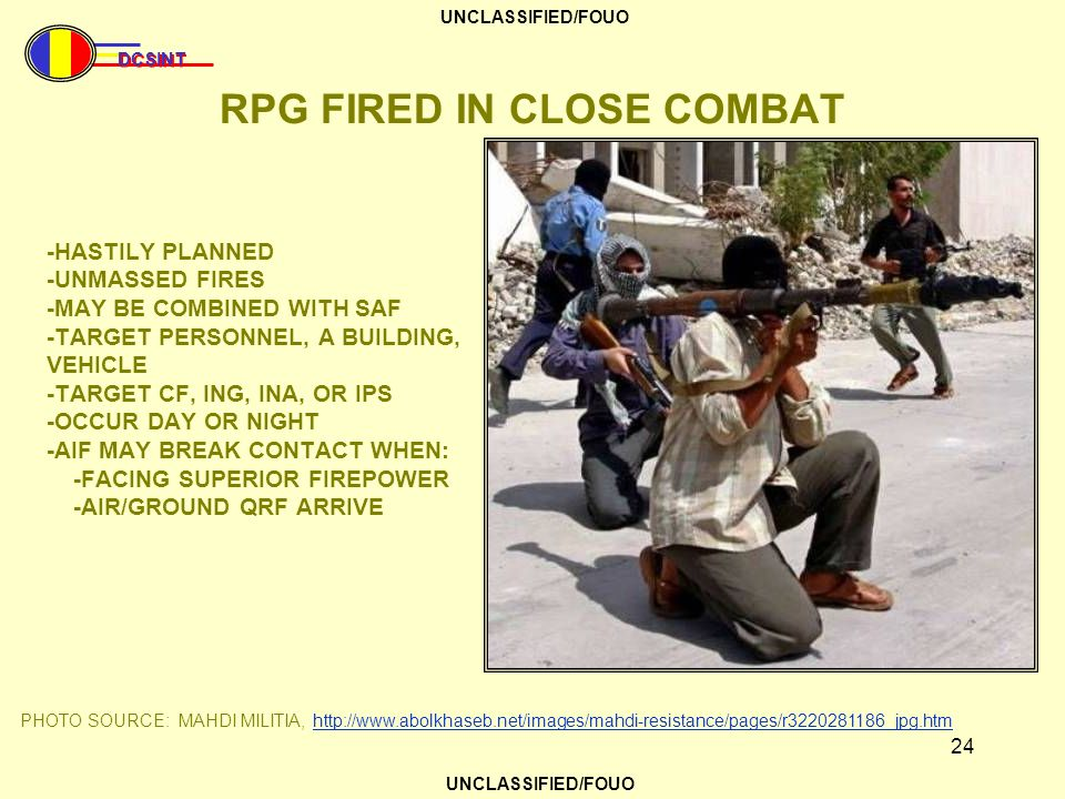 RPG FIRED IN CLOSE COMBAT