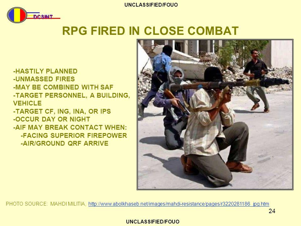 RPG FIRED IN CLOSE COMBAT