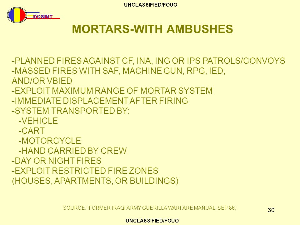 MORTARS-WITH AMBUSHES