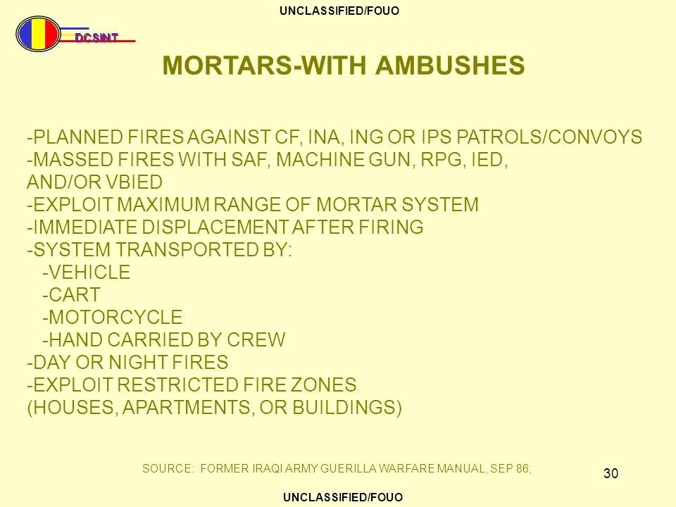 MORTARS-WITH AMBUSHES