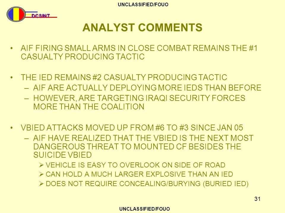 ANALYST COMMENTS AIF FIRING SMALL ARMS IN CLOSE COMBAT REMAINS THE #1 CASUALTY PRODUCING TACTIC. THE IED REMAINS #2 CASUALTY PRODUCING TACTIC.