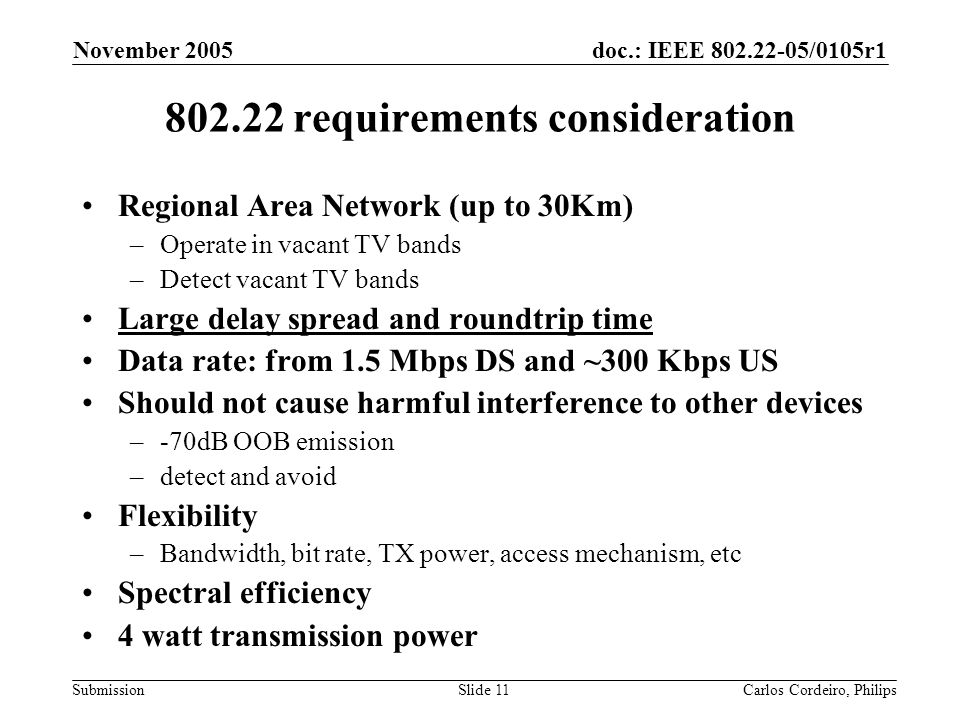 802.22 requirements consideration