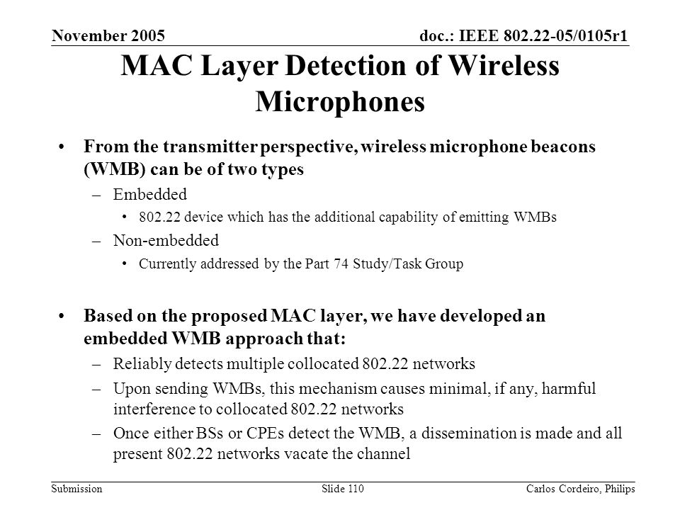 MAC Layer Detection of Wireless Microphones