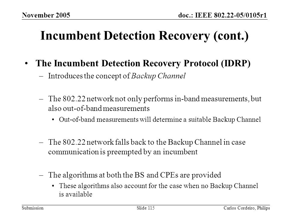 Incumbent Detection Recovery (cont.)