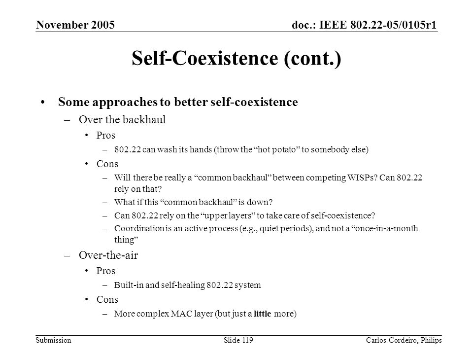 Self-Coexistence (cont.)