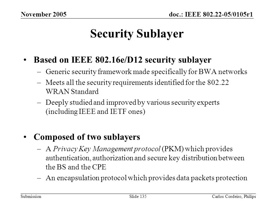 Security Sublayer Based on IEEE 802.16e/D12 security sublayer