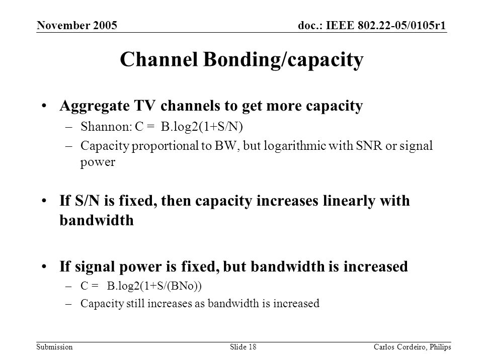 Channel Bonding/capacity