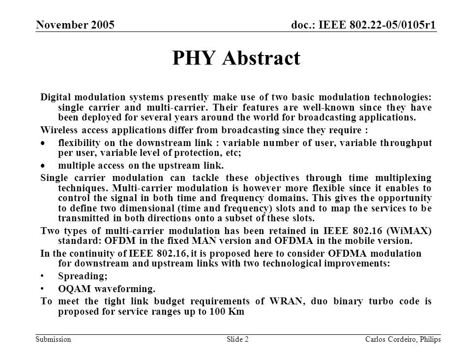 Month Year doc.: IEEE 802.22-yy/xxxxr0. November 2005. PHY Abstract.