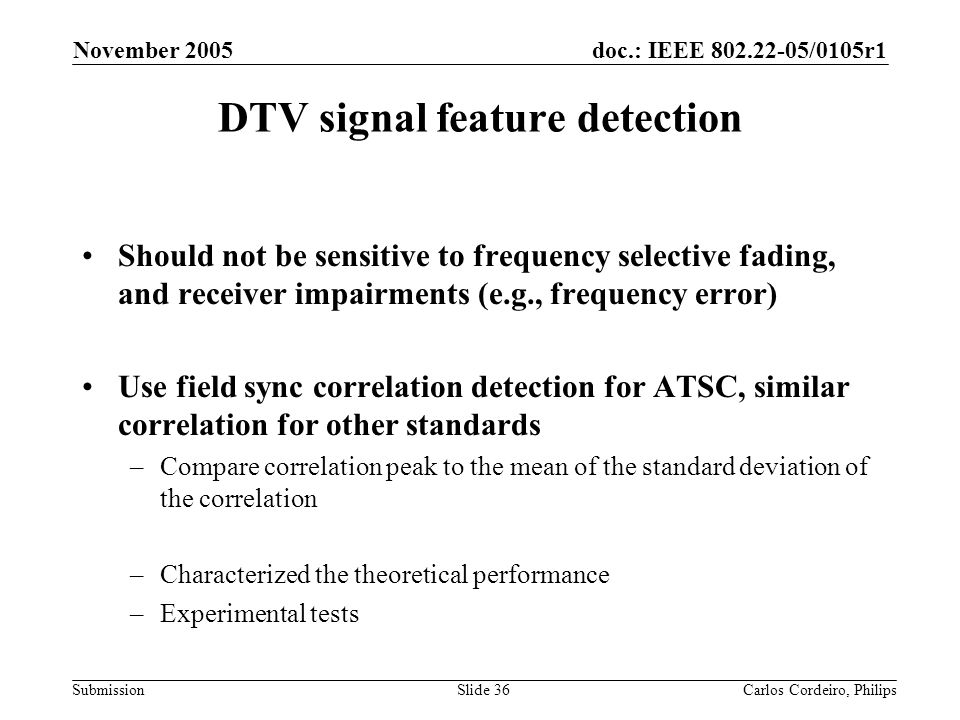 DTV signal feature detection