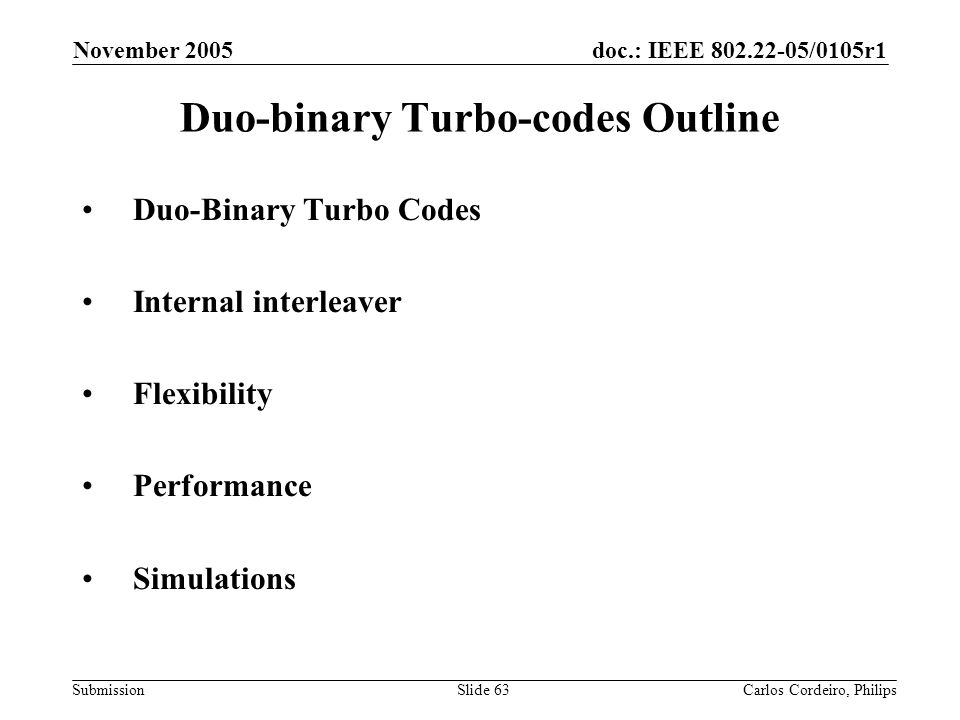 Duo-binary Turbo-codes Outline