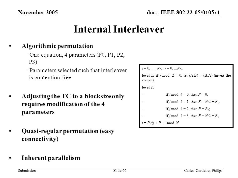 Internal Interleaver Algorithmic permutation